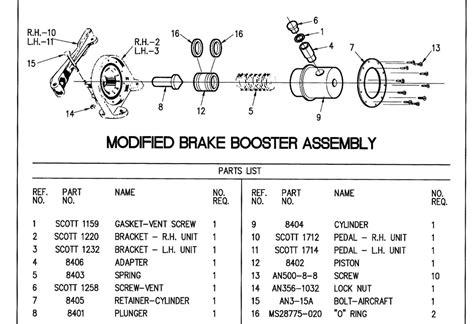 brake booster parts diagram brake booster parts