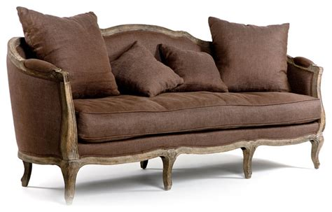 farmhouse sofa maison sofa limed grey oak with aubergine linen