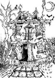 coloring halloween manor house halloween 8