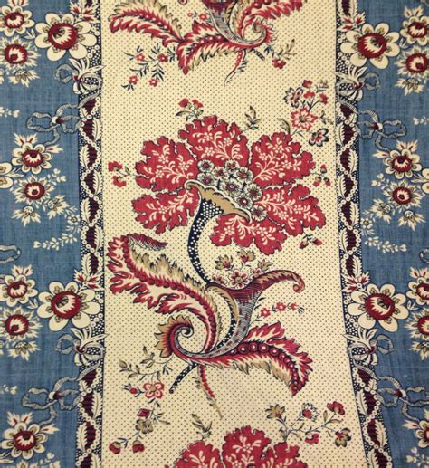 french upholstery fabric red and blue french country panel fabric drapery by