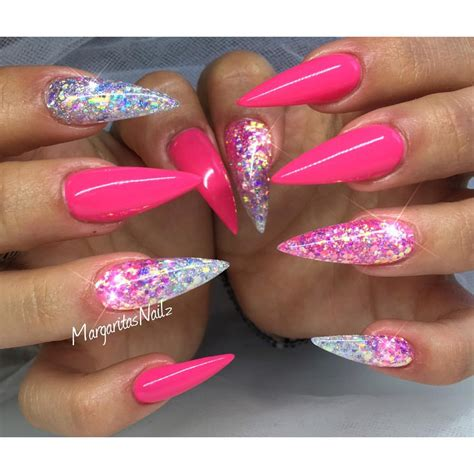 pink glitter acrylic nail designs pink and glitter ombr 233 stiletto nails summer nail design