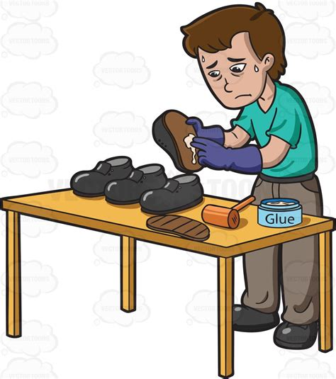 sneaker maker a sad looking shoemaker clipart vector