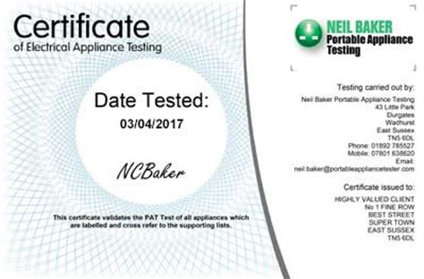 pat certificate template portable appliance testing service pat testing