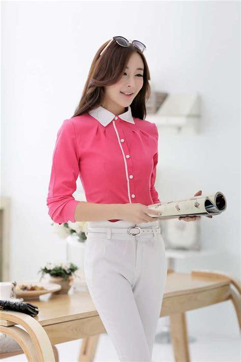 Blouse Katun Sabrina Import Fashion Wanitacewek 4 jual kemeja cewek korea pink chupacup