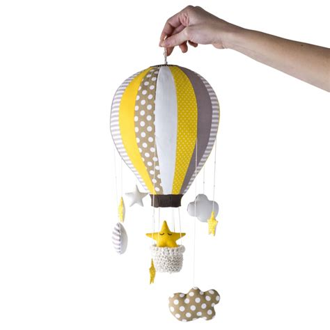 air balloon pattern hot air balloon mobile 16 segments stars and clouds