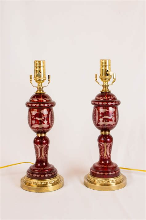 Ruby Red Bohemian Glass Lamps Appleton Antique Lighting