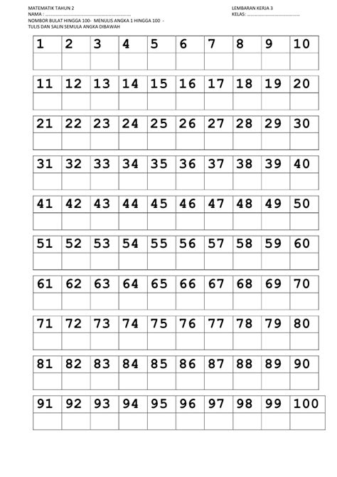 printable tracing numbers 1 100 nombor 1 100 trace line
