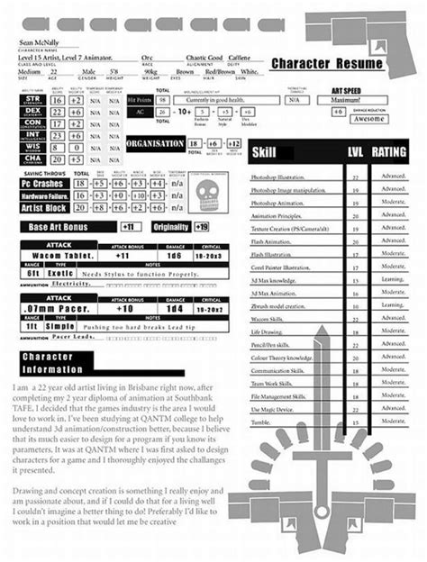 Resume D by D D Player Character Sheet Resume