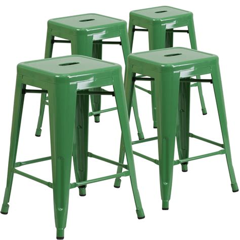 Green Metal Counter Stools by 4 Pk 24 High Backless Green Metal Indoor Outdoor