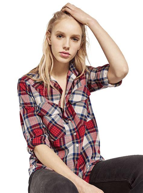 Zara V zara v neck check shirt eveprest