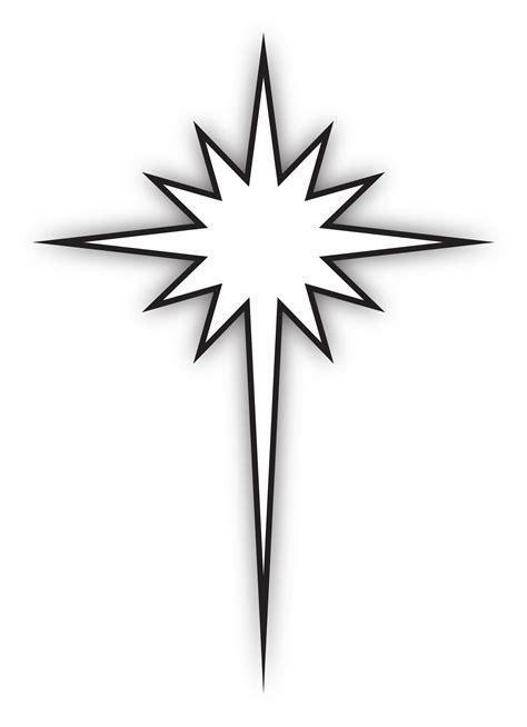 printable north star star of bethlehem black and white clipart clipart suggest