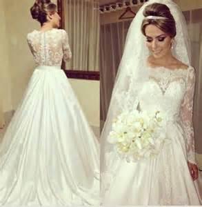 vintage scoop neckline princess see through lace wedding
