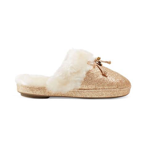 michael kors faux fur slippers lyst michael kors faux fur slippers in metallic