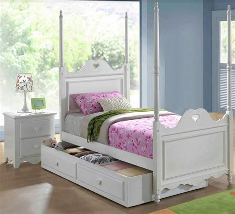 Bed With Poles by Single Bed With 4 Poles With 2 In 1 Trundle Storage