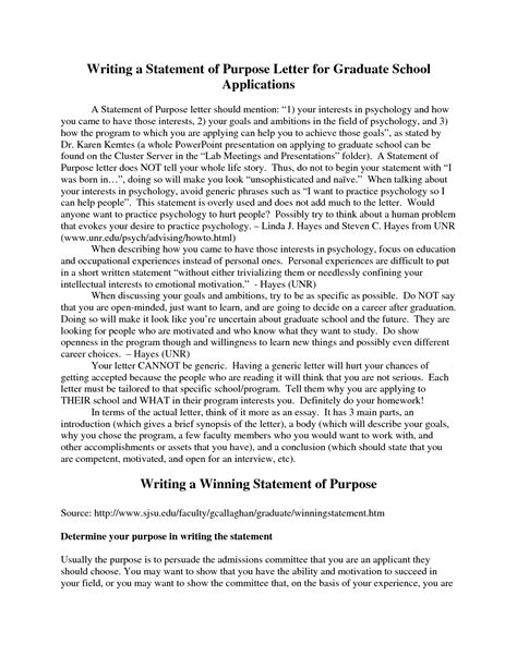 statement of objectives graduate school statement of purpose graduate school exles template