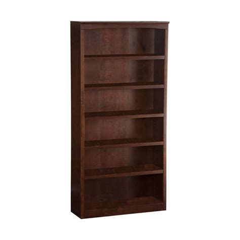 lowes bookshelves shop atlantic furniture antique walnut 6 shelf bookcase at lowes
