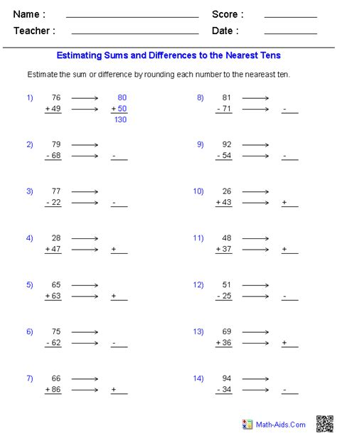 Math Aids Worksheets by Math Worksheets Dynamically Created Math Worksheets