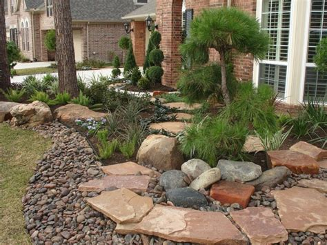 Landscaping With Oversize Pavers And Backyard Creek Hkns Landscaping Stones Houston