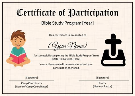 bible study certificate templates bible prophecy program certificate for design