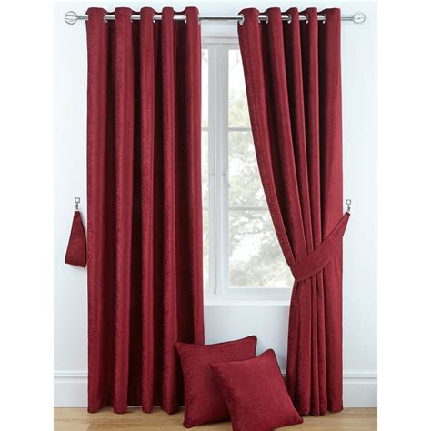 ring curtains luxury chenille ring top curtains pair finished in red