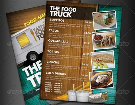 food truck menu template 30 food menus templates for caf 233 and restaurants ginva