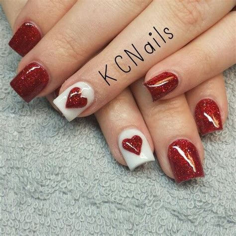 acrylic nails for valentines valentines day acrylic nails ans white nails with a