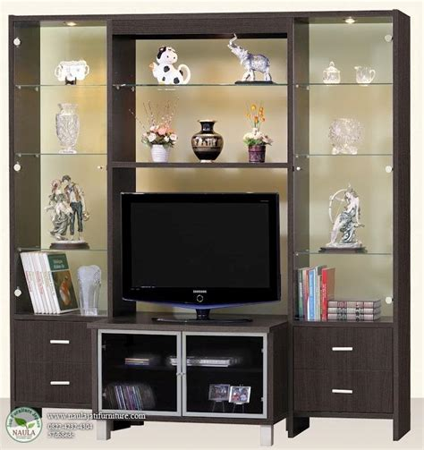 Lemari Kaca Tv Lemari Tv Minimalis Kaca Naula Jati Furniture