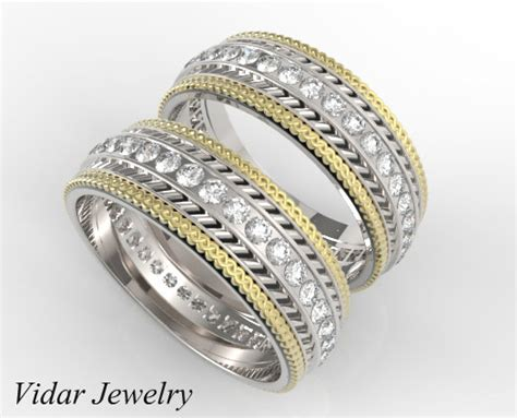 three tone matching rings vidar jewelry unique custom
