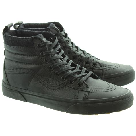 vans sk8 hi leather boots in all black in black black