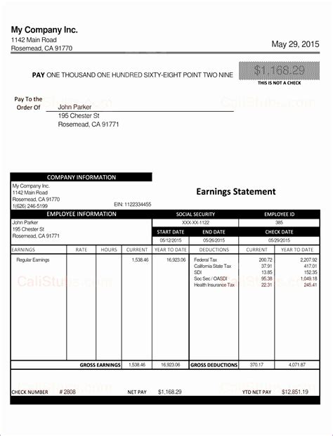 6 excel pay stub template resume reference