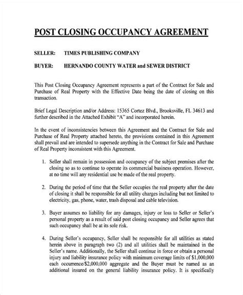 occupancy agreement template magnificent occupancy agreement template photos resume