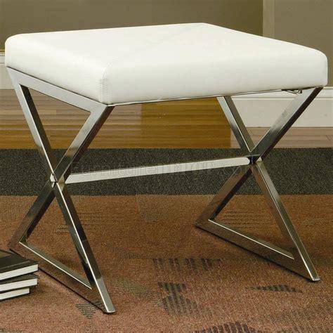 footstool metal legs white vinyl seat silver tone metal base modern ottoman