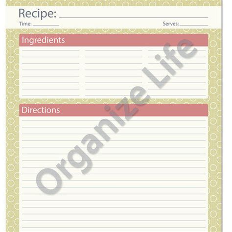 Recipe Powerpoint Template by Recipe Card Page Recipe Template From Organizelife On