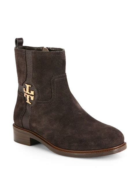burch alaina suede and leather logodetail ankle boots