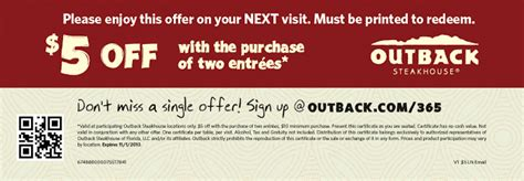 outback printable gift cards outback steakhouse 5 off two entrees printable coupon