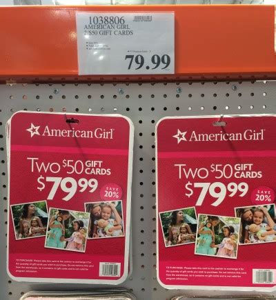 Costo Gift Card - costco 79 99 for 100 american girl gift cards