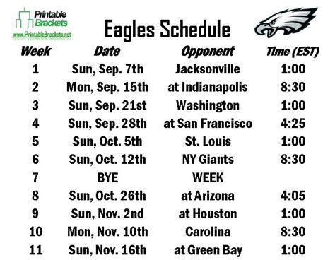 printable eagles schedule 2015 eagles schedule philadelphia eagles schedule