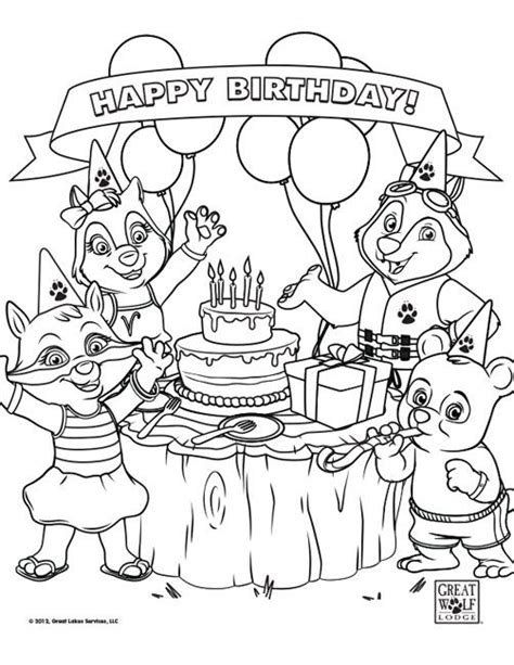 great sheets coloring sheets for great wolf lodge themed birthday