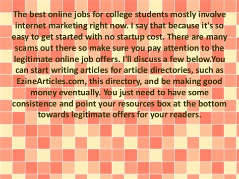 4 legitimate online jobs without investment for college students