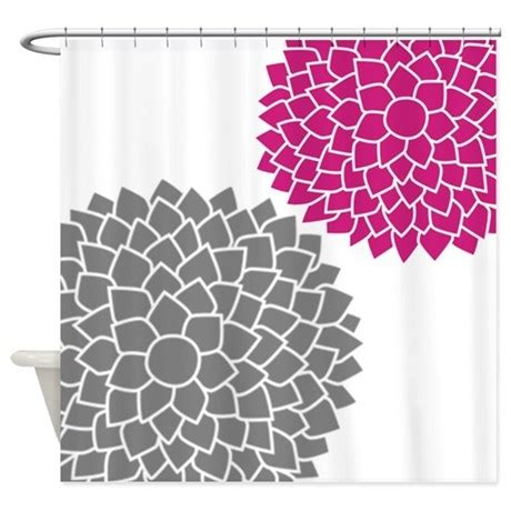 pink grey shower curtain zen flowers gray pink shower curtain by marshenterprises