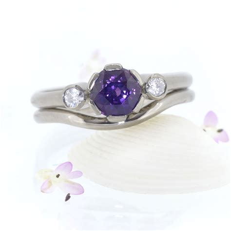 lilia nash purple sapphire and engagement ring