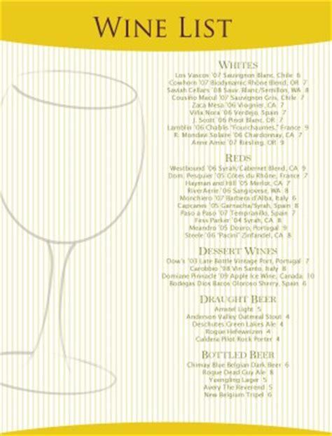 white wine list wine list