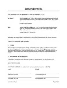 Commitment Form Template commitment form template sle form biztree