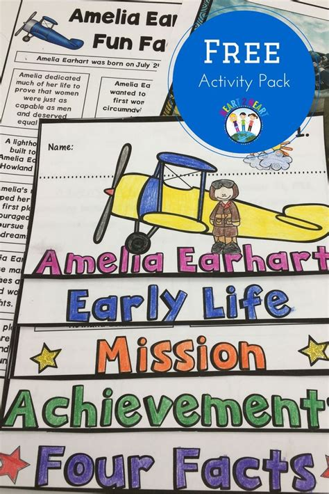 biography unit free amelia earhart activity pack with flip book students