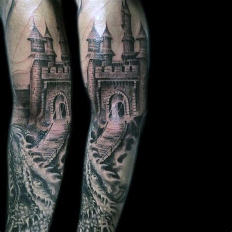 medieval dragon backpiece tattoo white beautiful designed black and white castle