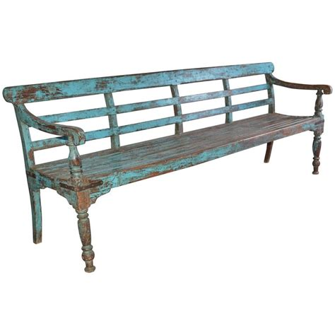 antique teak bench antique painted teak wood garden bench at 1stdibs