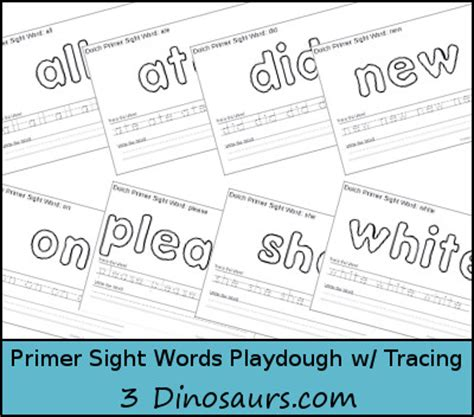 printable playdough sight word mats free dolch primer sight words playdough mats with tracing