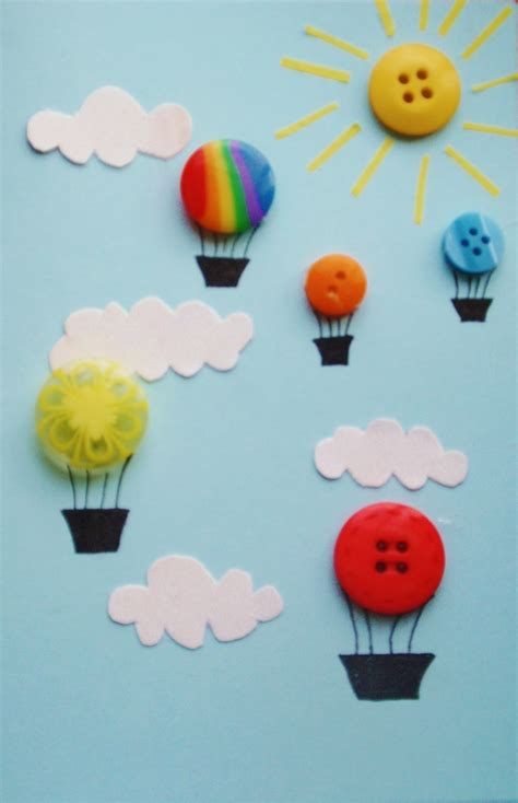 balloon crafts for a handful of buttons air balloon card