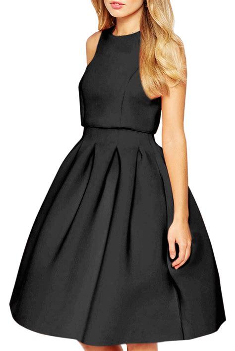 sleeveless pleated a line dress classic neck sleeveless pleated a line dress oasap