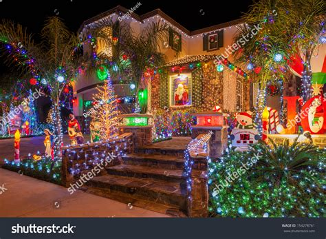 christmas lights on home in southern california photo